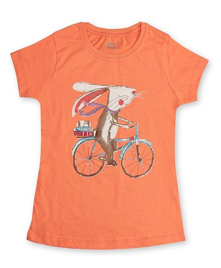 Soft Touche Half Sleeves Rabbit Printed T-Shirt - Orange