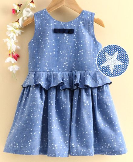 Rassha Sleeveless Stars Printed Fit & Flare  Dress - Blue