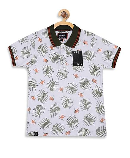 Monte Carlo Half Sleeves Leaves Print Tee - White