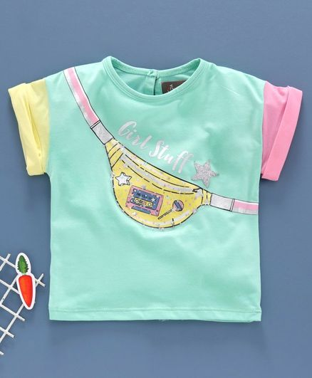 Little Kangaroos Half Sleeves Embellished Top - Green