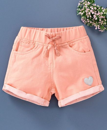 Little Kangaroos Knee Length Elasticated Shorts Glitter Heart - Peach