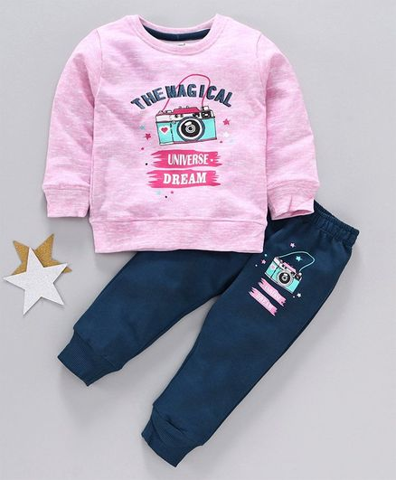 Cucumber Full Sleeves Winter Wear Tee & Lounge Pant - Pink Blue