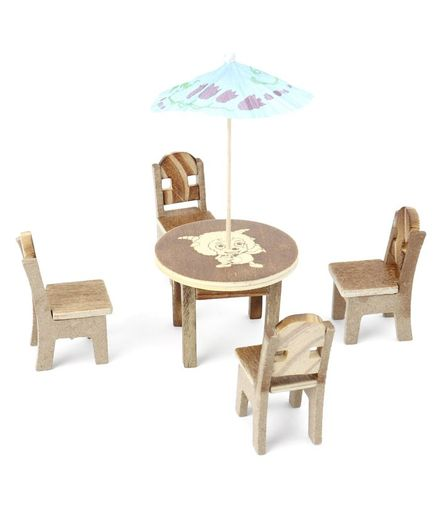 Tinykart Miniature Dinning Table Set - Beige
