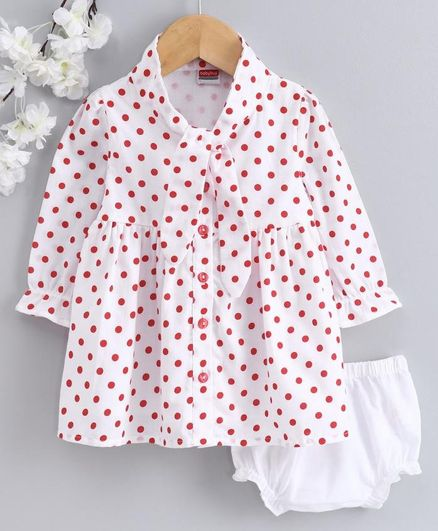 Babyhug Full Sleeves Frock with Bloomer Polka Dot Print - White
