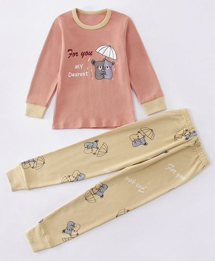 Kookie Kids Full Sleeves Printed Winter Wear Night Suit - Pink