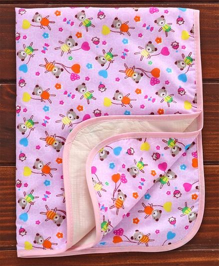 Diaper Changing Mat Teddy Print - Pink
