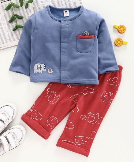 ToffyHouse Full Sleeves Night Suit Elephant Embroidery - Red Blue