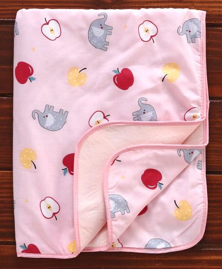 Diaper Changing Mat Apple & Elephant Print - Pink