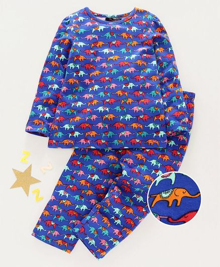 Pspeaches Full Sleeves Elephants Print Night Suit - Blue