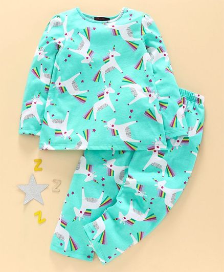 Pspeaches Full Sleeves Unicorn Print Night Suit - Green