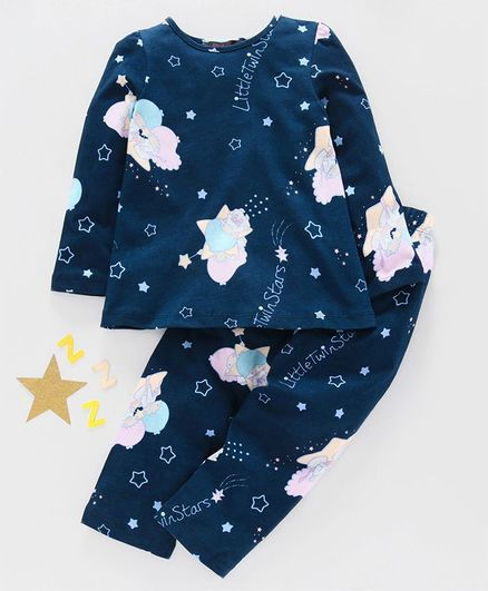 Pspeaches Full Sleeves Cloudy Day Night Time Print Night Suit - Blue