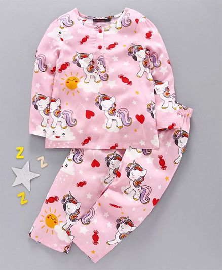Pspeaches Full Sleeves Unicorn Print Night Suit - Pink