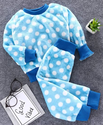 M'andy Polka Dot Design Full Sleeves Night Suit - Blue