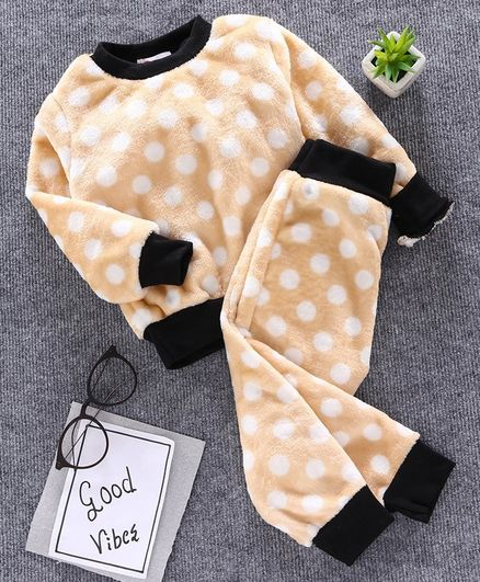 M'andy Polka Dot Full Sleeves Tracksuit - Beige