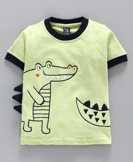 Jb Club Crocodile Print Half Sleeves Tee - Green