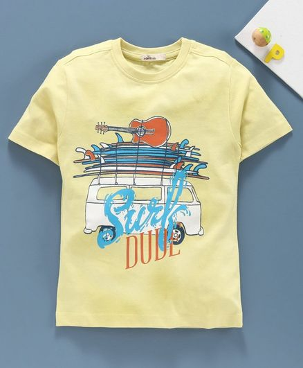 Adams Kids Half Sleeves Surf Dude Printed Tee - Yellow