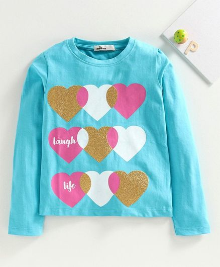 Adams Kids Full Sleeves Glittery Heart Printed Tee - Sky Blue