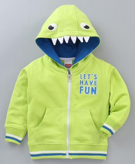 Babyhug Full Sleeves Hooded Sweatshirt Text Print - Green