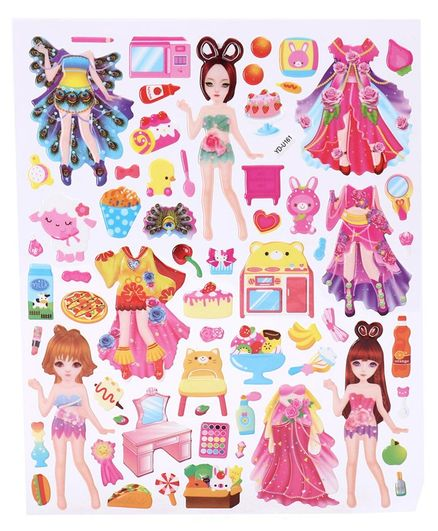 DIY Girl & Dress Theme Wall Stickers - Multicolour