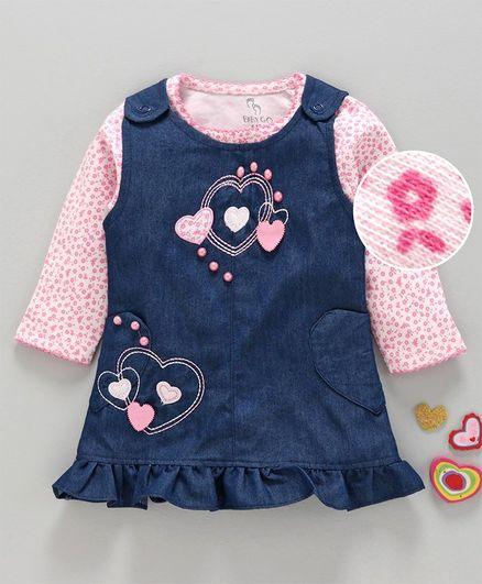 Baby Go Dungaree Style Frock With Inner Tee Bead Detailing - Pink Blue
