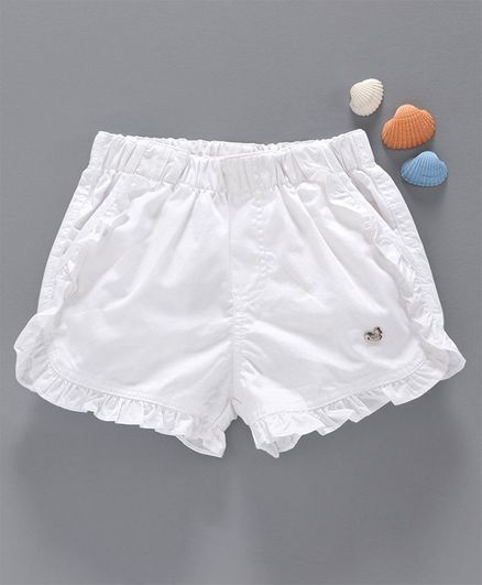 Ed-a-Mamma Solid Shorts With Ruffle Detail - White