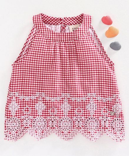 Ed-a-Mamma Checked Sleeveless Incut Top With Schiffli Embroidered Hem - Red