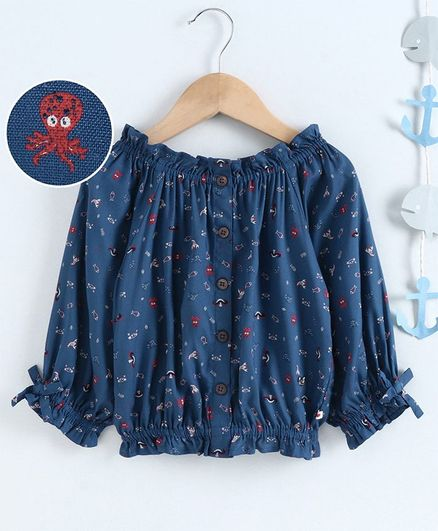 Ed-a-Mamma Full Sleeves Rayon Printed Peasant Top With Frill - Navy Blue