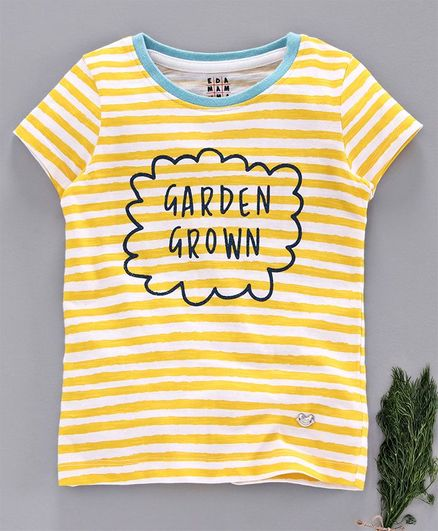 Ed-a-Mamma Half Sleeves Striped Knit With Contrast Rib & Glitter Print T-Shirt - Yellow