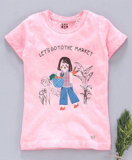 Ed-a-Mamma Half Sleeves Jersey Washed T-Shirt With Girl Print - Candy Pink