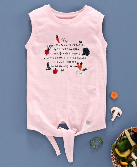Ed-a-Mamma Sleeveless Knit T-Shirt With Knot Print & Embroidery - English Pink