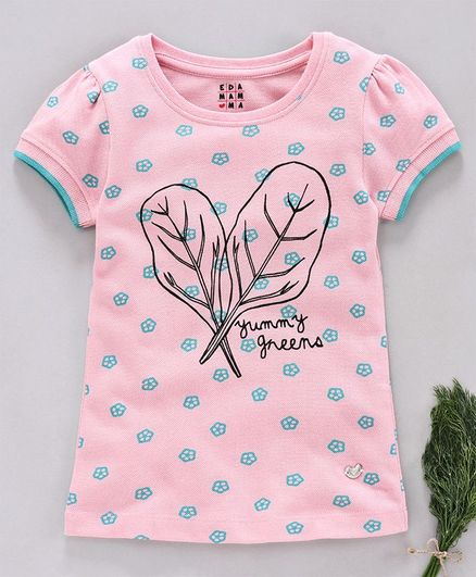 Ed-a-Mamma Half Sleeves Printed Knit T-Shirt With Contrast Rib - Pink