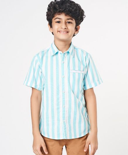 Ed-a-Mamma Half Sleeves Striped Poplin Shirt With Twill Detail - Pale Blue