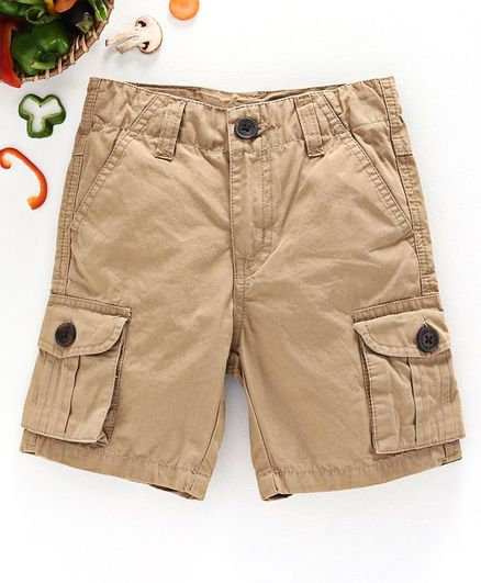 Ed-a-Mamma Solid Colour Cargo Shorts - Khaki