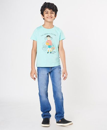 Ed-a-Mamma Round Neck Half Sleeves Tee With From Garden To Kitchen Print & Embroidery - Aqua