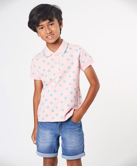 Ed-a-Mamma Half Sleeves Printed Polo Tee With Tipped Collar - Pink