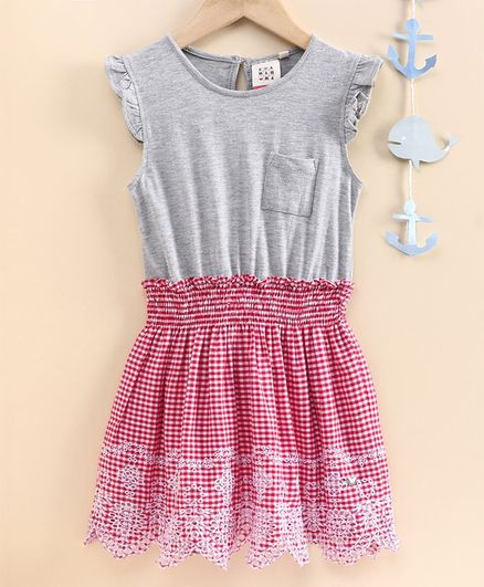 Ed-a-Mamma Cap Sleeves Flared Checked Dress With Smocking & Schiffli Embroidered Hem - Red
