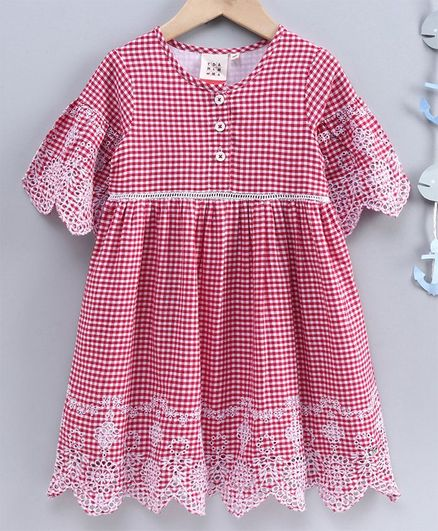 Ed-a-Mamma Half Sleeves Checked Dress With Flared Sleeves, Lace Insert & Schiffli Embroidered Hem & Sleeves - Red