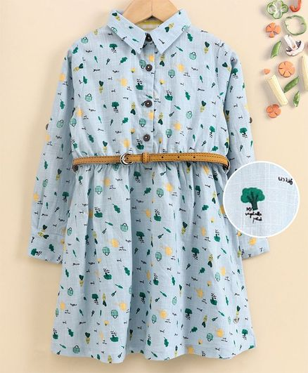 Ed-a-Mamma Full Sleeves Printed Cotton Slub Shirt Dress with Roll Up Sleeves - Sky Blue