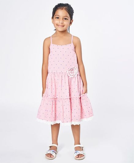 Ed-a-Mamma Sleeveless Polka Printed Striped Layered Strappy Dress With Lace Underlayer & Corsage - Pink