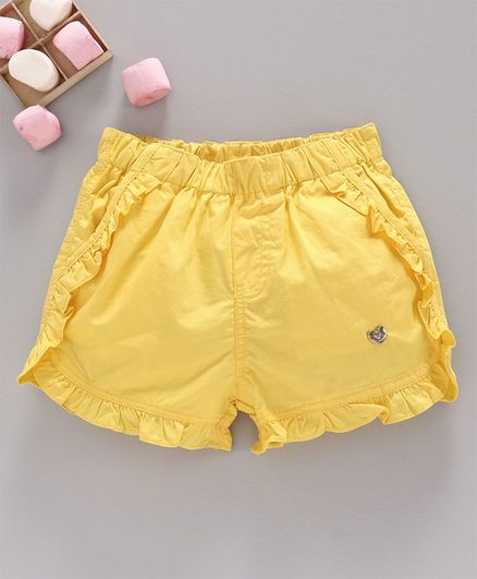 Ed-a-Mamma Solid Shorts With Ruffle Detail - Yellow