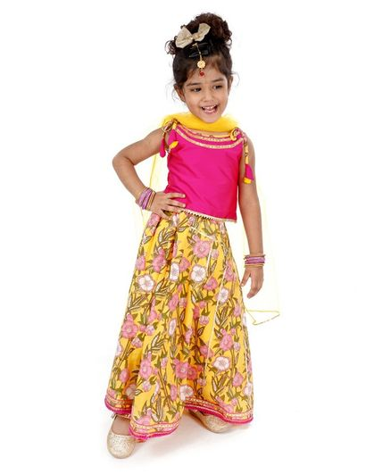Babyhug Half Sleeves Blouse & Lehenga With Dupatta - Pink Yellow