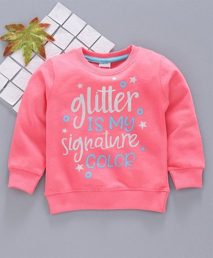 Babyhug Full Sleeves Cotton Sweatshirt Text Print - Pink