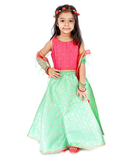 Babyhug Sleeveless Lehenga Set with Brocade Work - Pink Blue