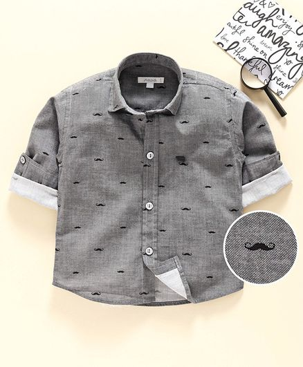 Attack Full Sleeves Shirt Moustache Print - Grey