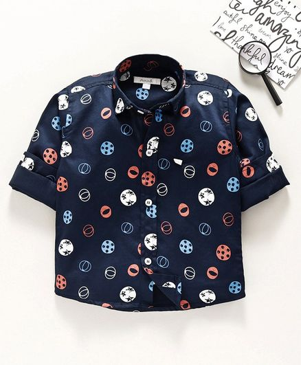 Attack Full Sleeves Shirt Ball Print - Navy Blue