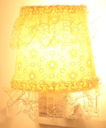 Night Lamp with Frills Floral Print - Yellow