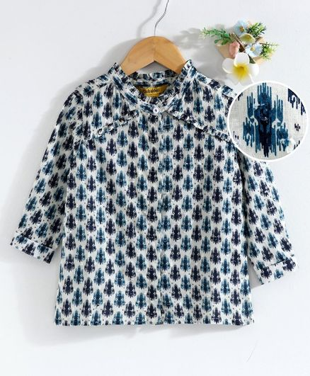 Global Desi Girl Full Sleeves Printed Top - Navy Blue