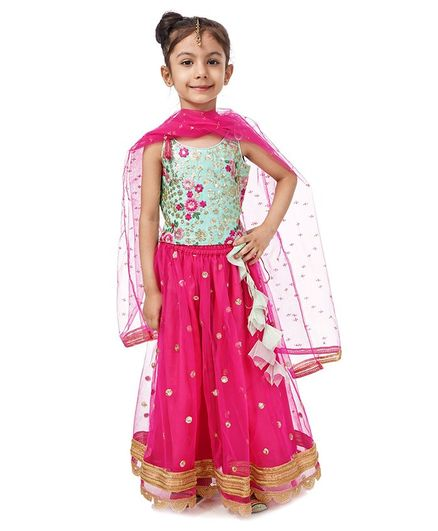 Babyhug Singlet Sleeves Choli and Lehenga with Net Dupatta Floral Embroidery - Green Pink