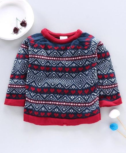 Little Angels Full Sleeves Sweater Heart Design - Blue