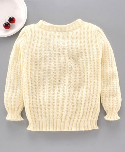 Little Angels Full Sleeves Solid Sweater - Cream